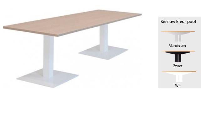 Kolom vergadertafel Met 2 vierkante voeten 200x100cm